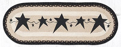 OP-313 Primitive Stars Black 36 inch Braided Table Runner