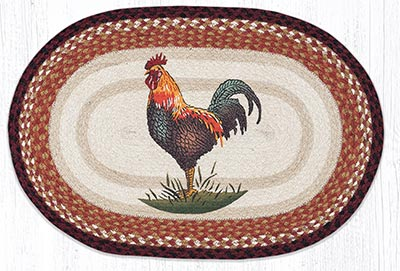 Rustic Rooster 20 x 30 inch Braided Rug