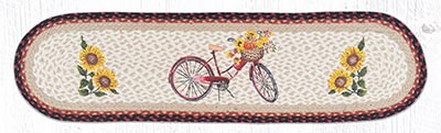 OP-602 Red Bicycle 48 inch Braided Table Runner