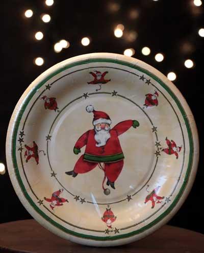 Santa Jumping Jack Paper Dessert Plates