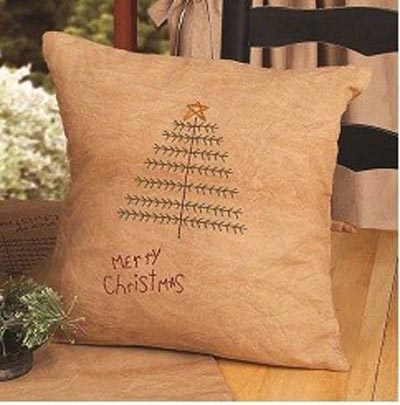 Merry Christmas Feather Tree Pillow