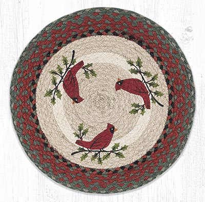 Holly Cardinal Round Braided Placemat