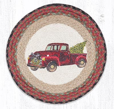 Christmas Truck Round Braided Placemat