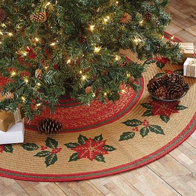 Poinsettia Jute 50 inch Tree Skirt