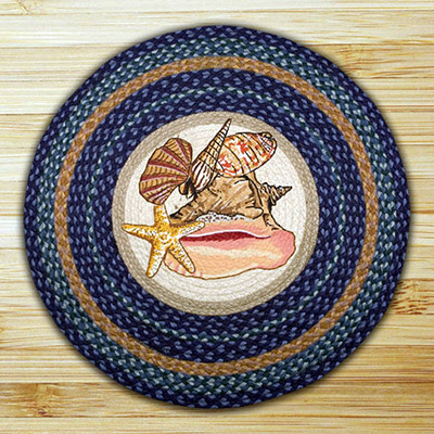 Sea Shells Braided Jute Rug - Round