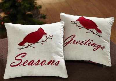 Season's Greetings Cardinal Pillows (Set of 2)
