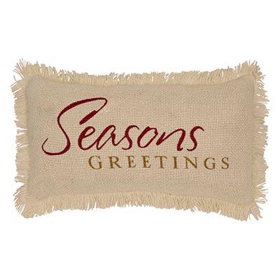 Seasons Greetings Creme Burlap Pillow