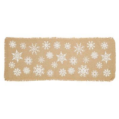 Snowflake Burlap 36 inch Table Runner