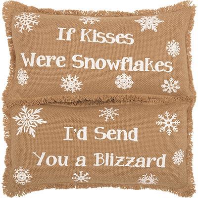 Snowflake Burlap Pillow If Kisses..Snowflakes (Set of 2)