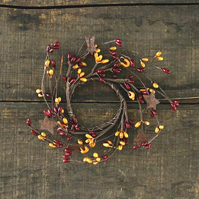 Burgundy and Old Gold Rusty Star Candle Ring - Mini