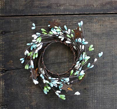 Coastal Pip Berry Candle Ring with Stars - 2 inch