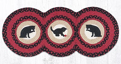 TCP-238 Cat and Kitten Braided Tri Circle Table Runner