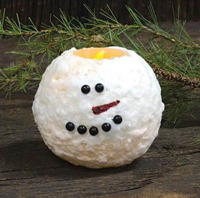 Snowman Battery Ball Candle - 4 inch
