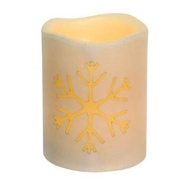 Snowflake Ivory Battery 4 inch Pillar Candle with Timer