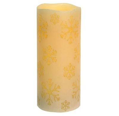 Snowflake Ivory Battery 7 inch Pillar Candle with Timer