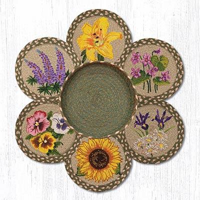 Flowers Braided Jute Trivet Set