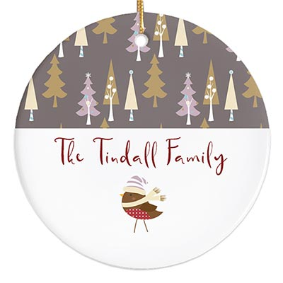 Woodland Trees & Songbird Personalized Ornament