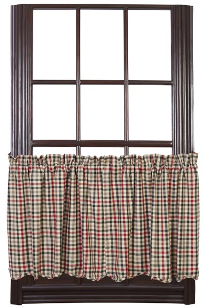 Victory Plaid Cafe Curtains - 24 inch Tiers