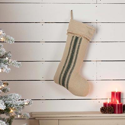 Vintage Burlap Stripe Green 20 inch Stocking