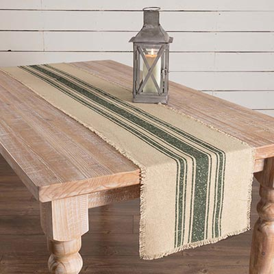 Vintage Burlap Stripe Green 90 inch Table Runner