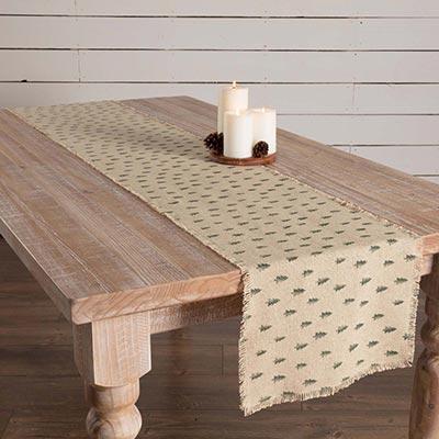 Vintage Burlap Tree 90 inch Table Runner