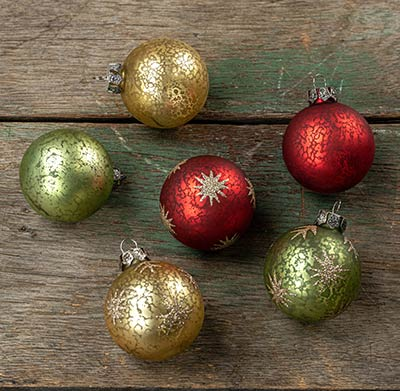 Mercury Glass Ball Ornaments (Set of 6)