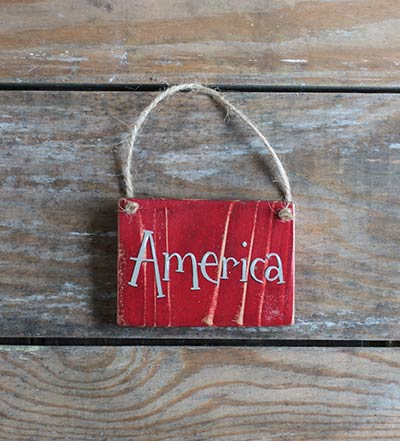 America Small Wooden Sign - Red