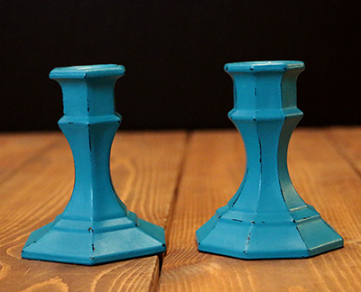 Turquoise Distressed Painted Glass Candlesticks (Set of 2)