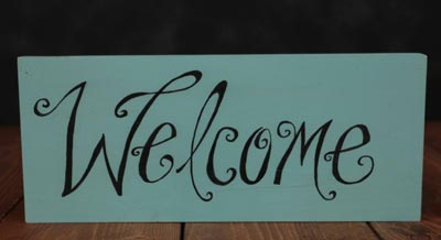 Teal Welcome Wood Sign (Customization available)