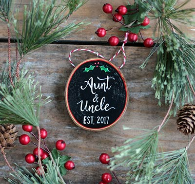 Aunt & Uncle Wood Slice Ornament (Personalized)