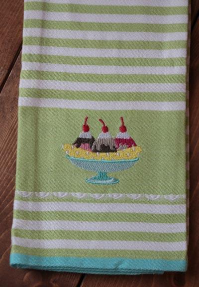 Banana Split Embroidered Dishtowel