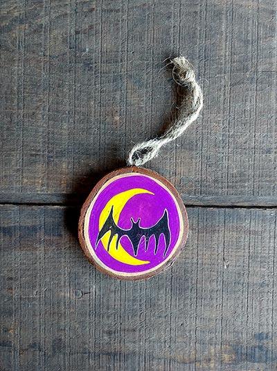 Bat and Crescent Moon Wood Slice Ornament