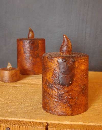 Burnt Mustard Battery Pillar Candle with Timer - 2.5 x 3 inch