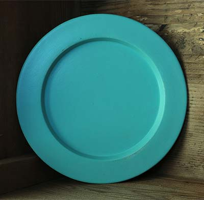 Distressed Wooden Plate, 9.5 inch - Aqua Blue