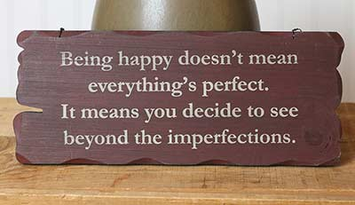 Being Happy Tattered Wood Sign - Burgundy