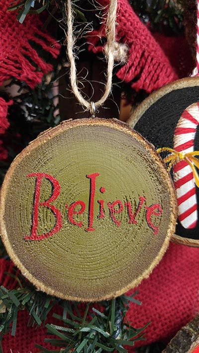 Believe Wood Slice Ornament - Green (Personalized)