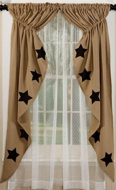 Black Star Deluxe Burlap Prairie Curtain (63 inch)