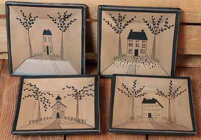 Saltbox house Plates (Set of 4)
