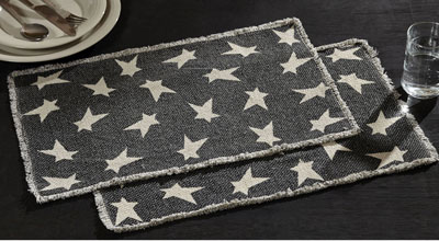 Primitive Black Star Placemats (Set of 6)