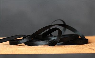Jet Black Single Faced Poly Satin Ribbon, 1/4 inch