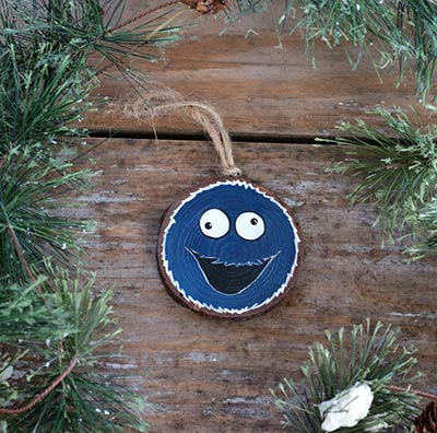 Blue Monster Wood Slice Ornament (Personalized)