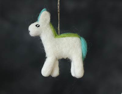 Felt Unicorn Ornament - Blue/Green