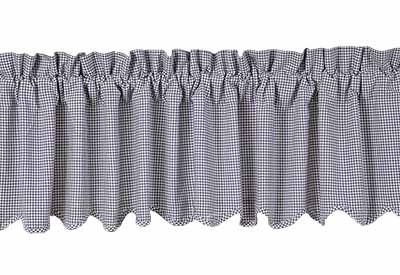 Maddox Valance (Navy Blue and White Gingham Check)
