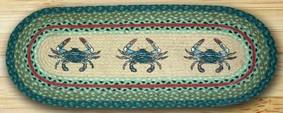 Blue Crab Oval Patch Runner - 36 inch