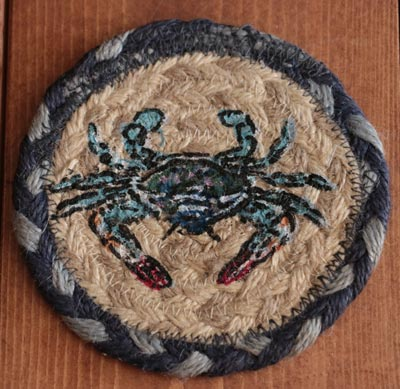 Blue Crab Braided Jute Coaster