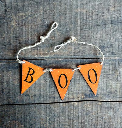 Boo Hand-painted Wooden Mini Pennant Garland