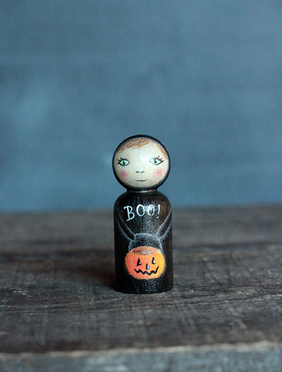 Black Cat with Pumpkin Bucket Doll (or Ornament)