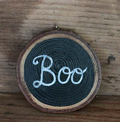 Boo Wood Slice Ornament (Personalized)