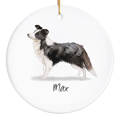Border Collie Personalized Ornament