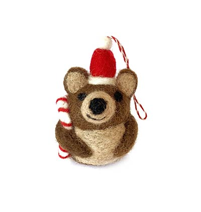 Brown Bear with Candy Cane Tufted Wool Ornament